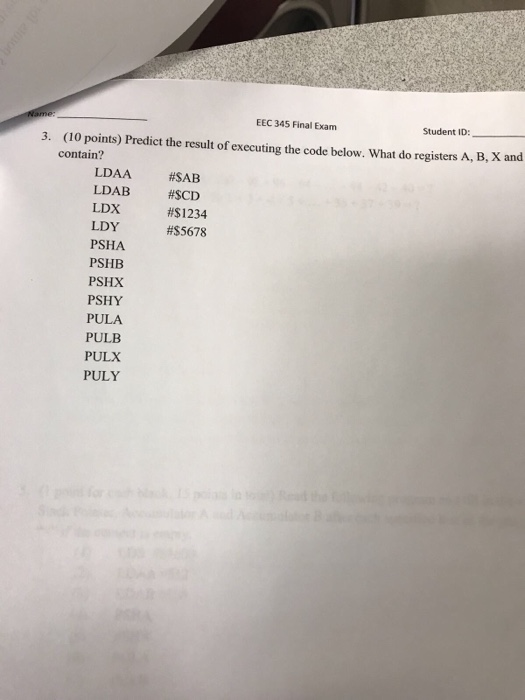 Electrical engineering archive december 06 2017 chegg eec 345 final exam student id 10 points predict the result of executing fandeluxe Image collections