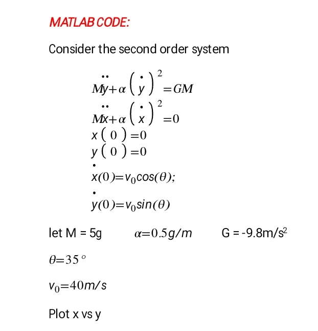 Solved: MATLAB CODE: Consider The Second Order System X(0