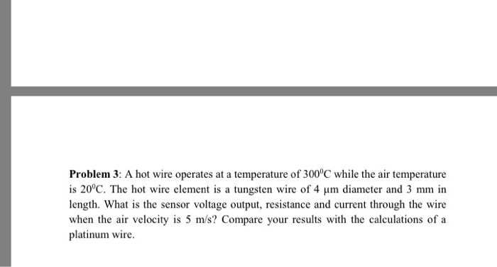 Solved: Problem 3: A Hot Wire Operates At A Temperature Of ...