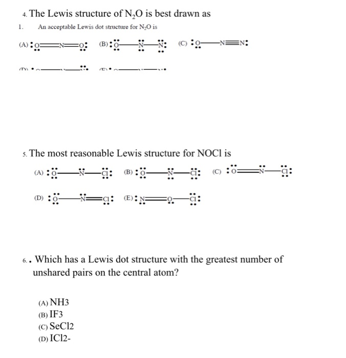 the lewis structure of n2o is best drawn as 1 an acceptable lewis dot