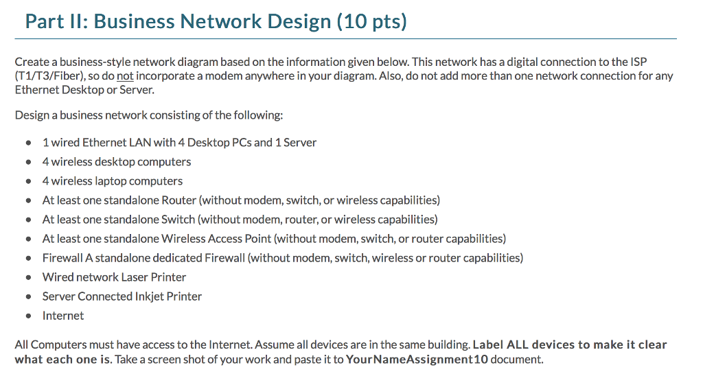 solved part ii business network design (10 pts) create a Home Network Setup Diagram part ii business network design (10 pts) create a business style network