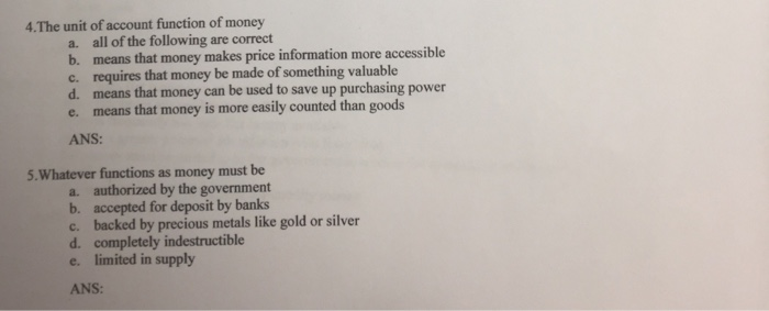 what are the four functions of money