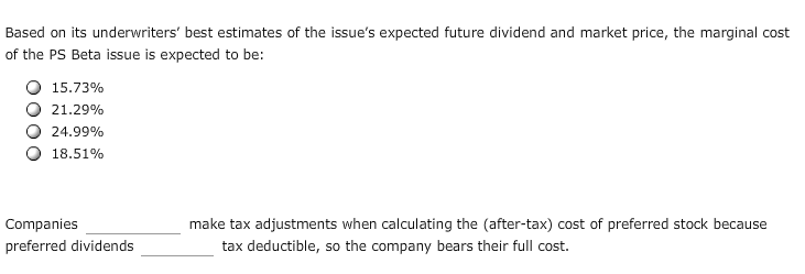 Solved: Based On Its Underwriters' Best Estimates Of The I
