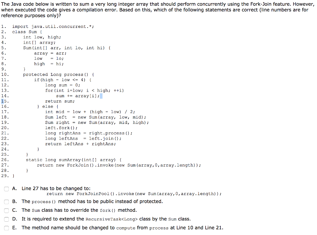 Solved: The Java Code Below Is Written To Sum A Very Long