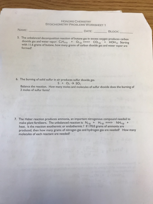 Solved Honors Chemistry Stoichiometry Problems Worksheet