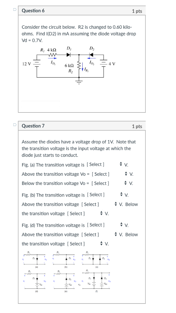 Solved: Question 3 1 Pts Consider The Circuit Below. The ...