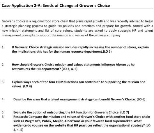 Solved: Case Application 2-A: Seeds Of Change At Grower's