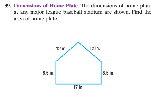 Solved 39 Dimensions Of Home Plate The Dimensions Of Hom