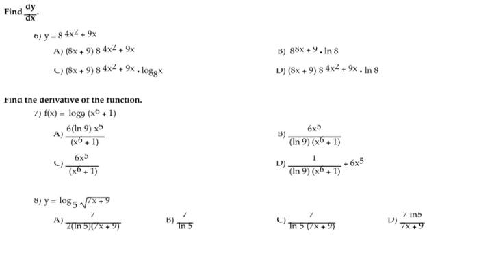 solved find dy dx y 8 4x 2 9x a 8x 9 8 4x 2 9x chegg com find dy dx y 8 4x 2 9x a 8x 9