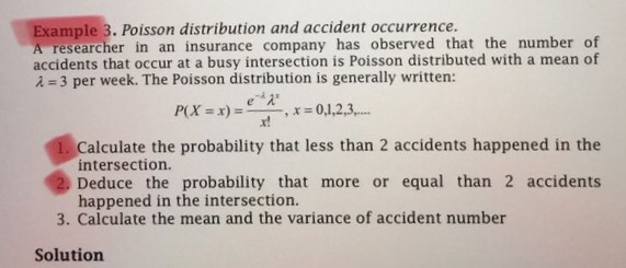 Solved: Example 3. Poisson Distribution And Accident Occur ...