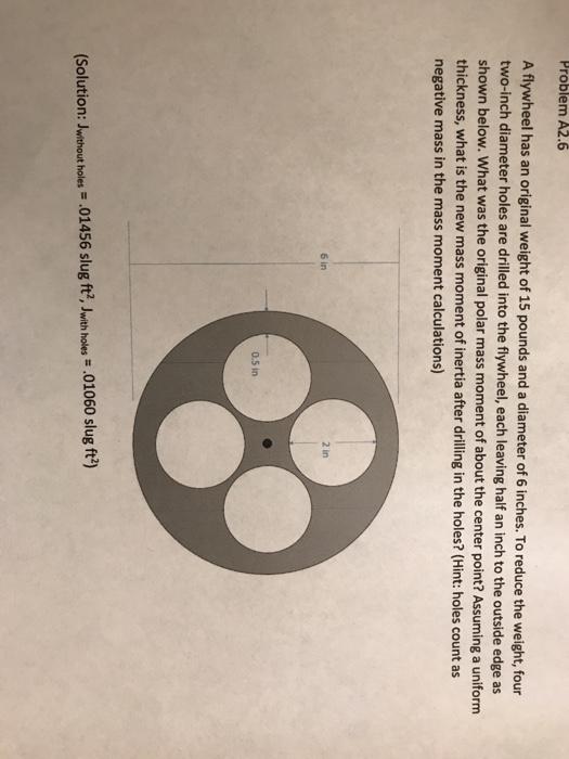 Solved Problem A26 A Flywheel Has An Original Weight Of