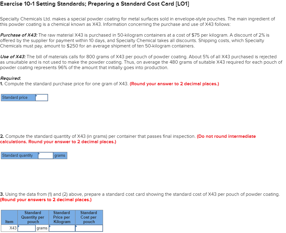 Solved: Exercise 10-1 Setting Standards