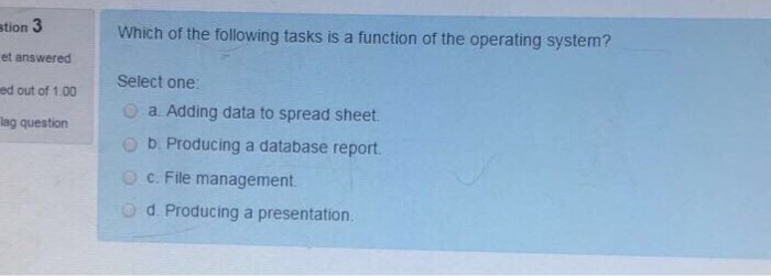 Solved: Which Of The Following Tasks Is A Function Of The