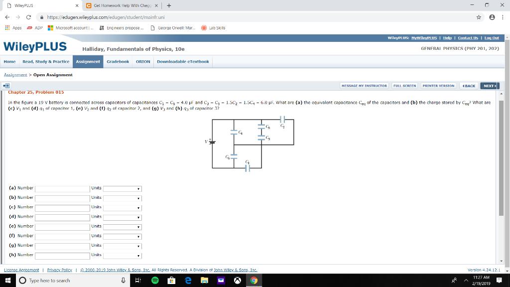 WileyPLUs e Get Homework Help with Chey. -) С https://edugen.wileyplus.com/edugen/student/mainfruni ::: Apps 4» ADP Microsott