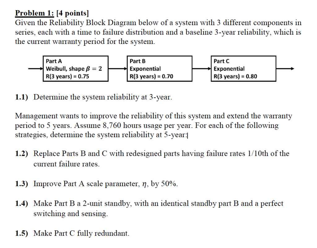 problem 1 [4 pointsl given the reliability block chegg com