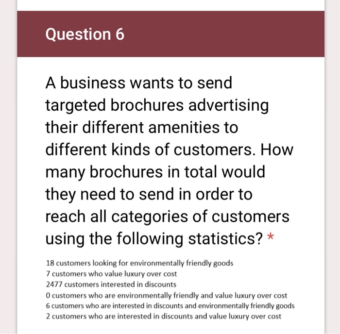 Solved Question 6 A Business Wants To Send Targeted Broch