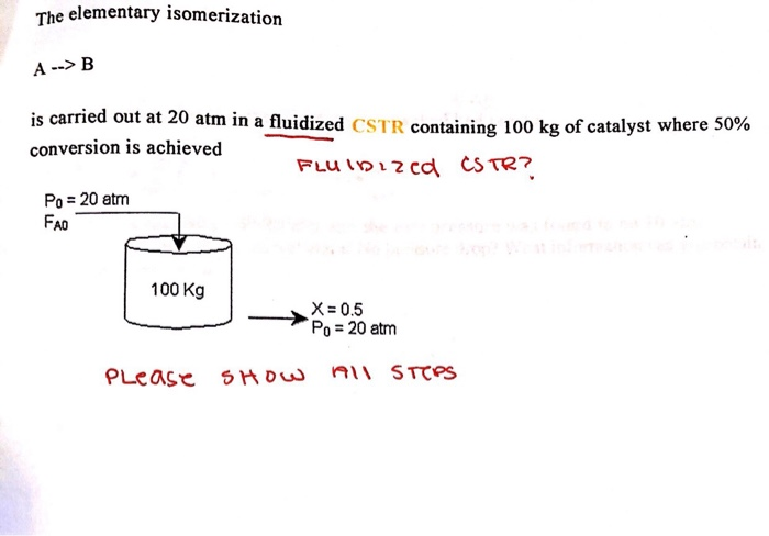 He Elementary Isomerization A B Is Carried Out At Cheggcom
