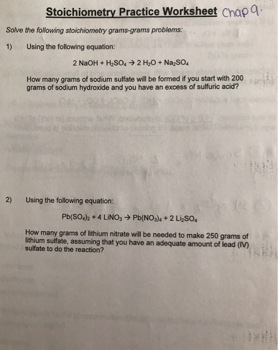 Solved: Stoichiometry Practice Worksheet Chapa Solve The F ...