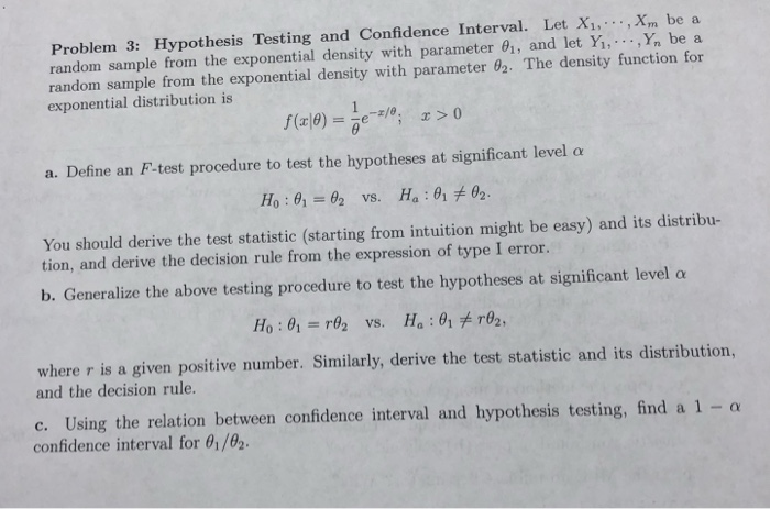 Solved: Problem 3: Hypothesis Testing And Confidence Inter