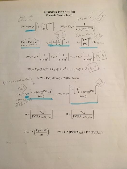 Solved: BUSINESS FINANCE 381 Formula Sheet Test 1 Does No