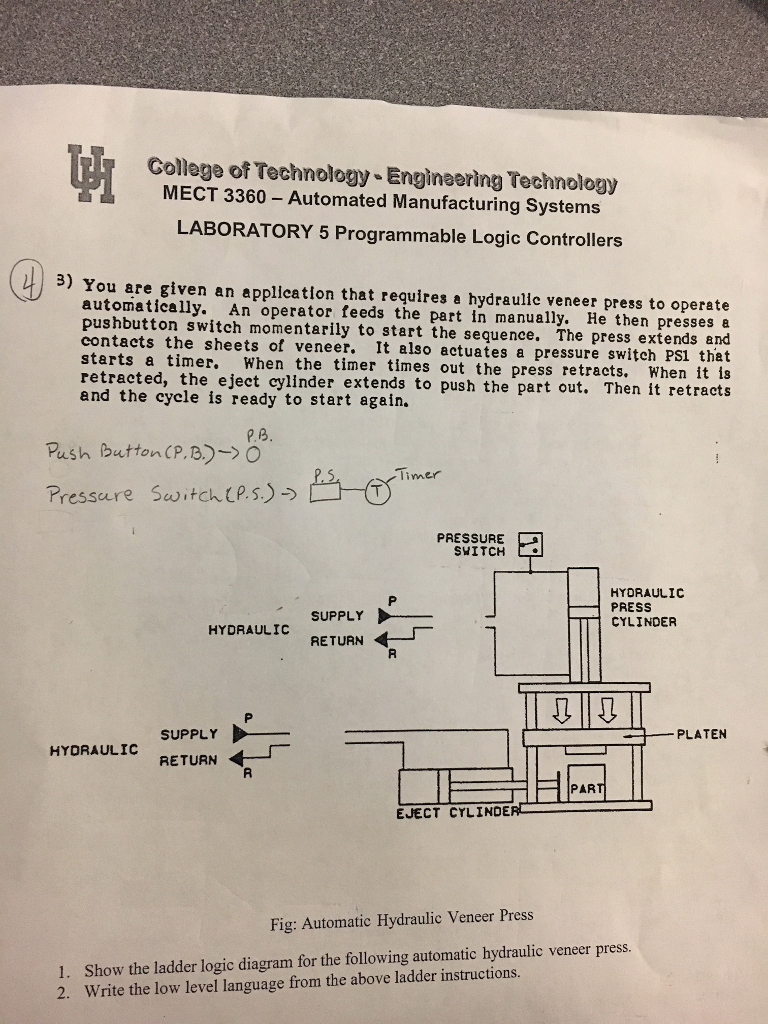 Make A Ladder Logic Control For The Following Prob Diagram Symbols College Of Technology Engineering Mect 3360 Automated Manufacturing Systems Laboratory 5 Programmable