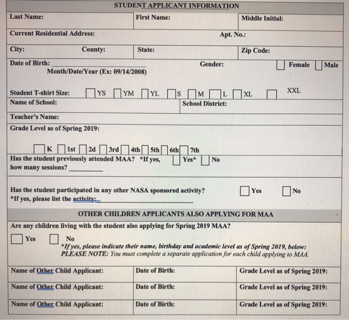 Solved: STUDENT APPLICANT INFORMATION Last Name: Current R