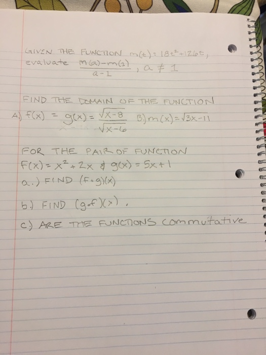 evaluate marma-, a a -L FIND THE CuAIN OF THE FUNCTION FOR THE PAR OF FUNeIO b) FIND (g C ARE TIE FUNCTONS Commutative