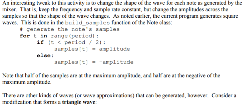 I'm Trying To Implement 3 Types Of Waves (Triangle      Chegg com