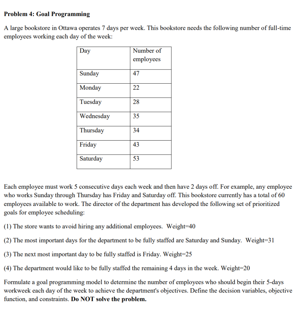 Problem 4: Goal Programming A Large Bookstore In O