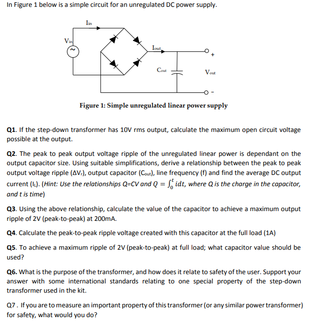 Solved: In Figure 1 Below Is A Simple Circuit For An Unreg