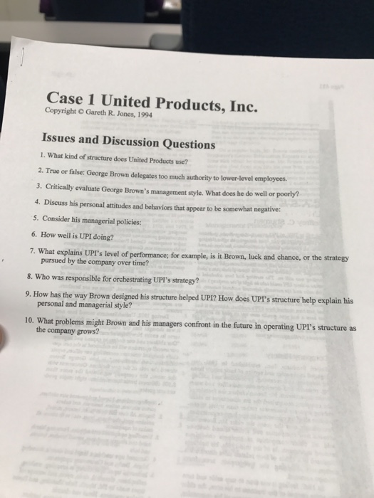 Solved Case Study United Products Give Me A Apa Format Pa