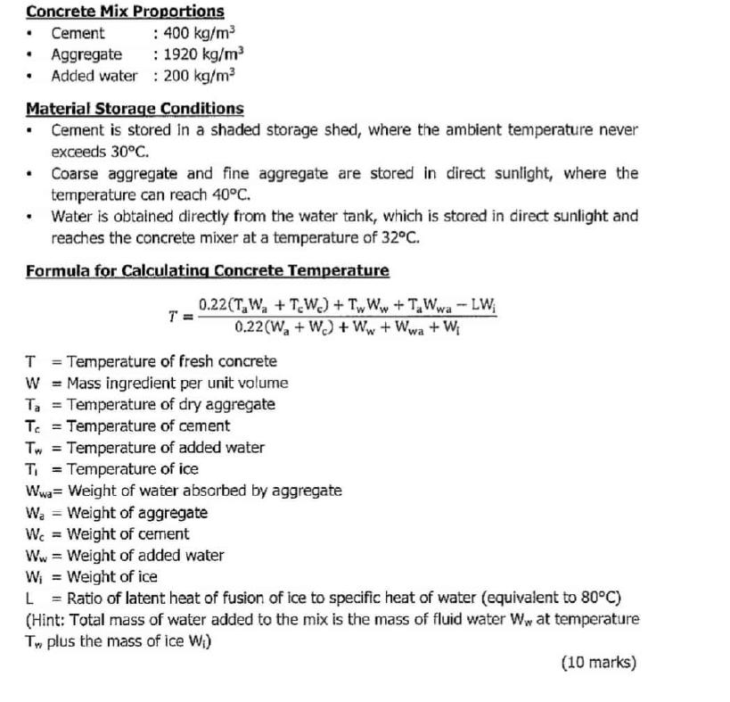 Solved: CONCRETE TECHNOLOGY: CONCRETE TEMPERATURE (20 Mark