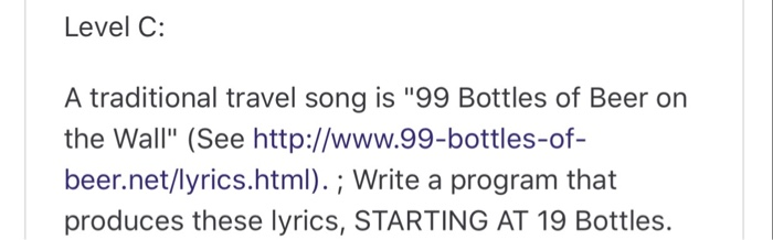 Level C A Traditional Travel Song Is 99 Bottles Of Beer On The Wall