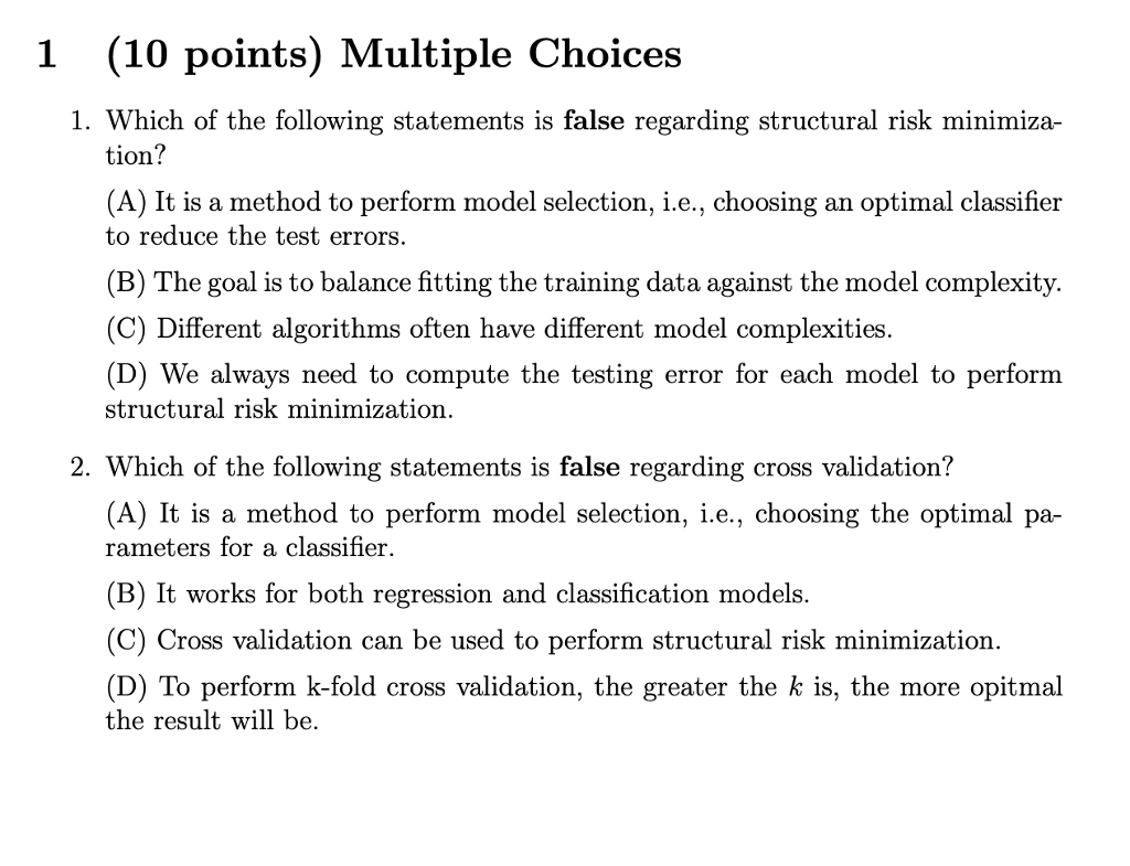 1 (10 Points) Multiple Choices 1  Which Of The Fol