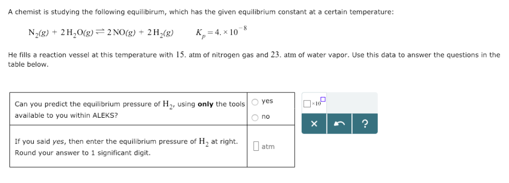A chemist is studying the following equilibirum, which has the given equilibrium constant at a certain temperature: N2(g) 2H2