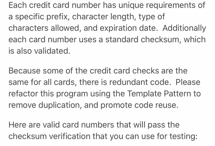 Template Assignment Credit Card Validation Program