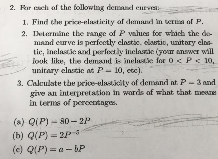 Solved 2 For Each Of The Following Demand Curves 1 Fin
