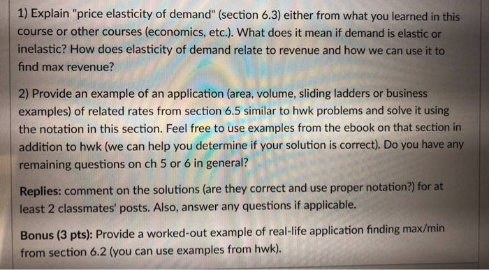 Solved 1 Explain Price Elasticity Of Demand Section 6 Chegg Com