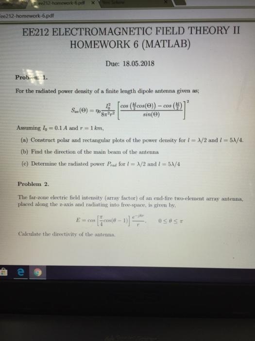 Solved: 6 PdfX Ee212-homework-6 pdf EE212 ELECTROMAGNETIC