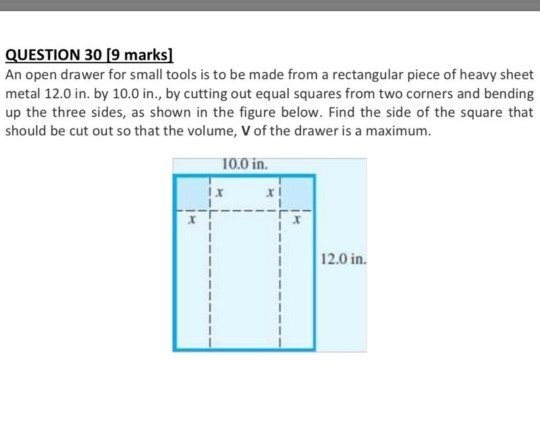 solved question 30 9 marks an open drawer for small tool
