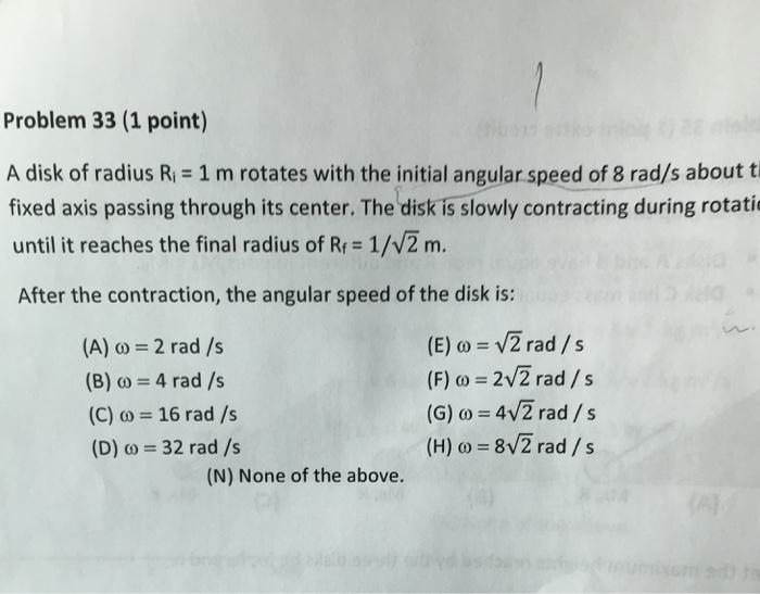 Solved: Problem 33 (1 Point) A Disk Of Radius Ri 1 M Rotat