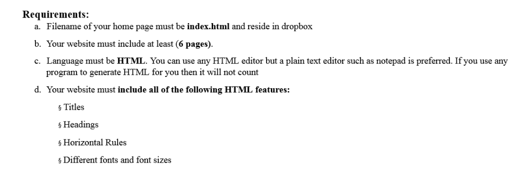 Using HTML, I Need To Create A Personal Website Th