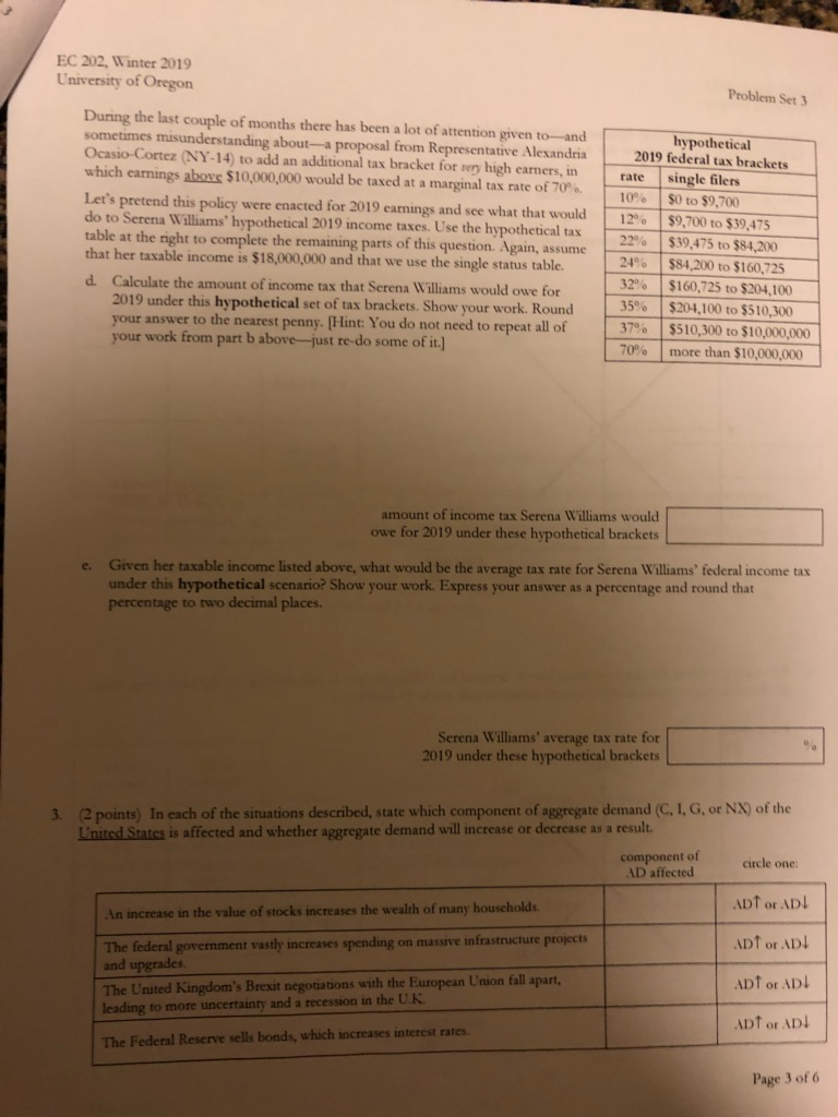Solved: EC 202, Winter 2019 University Of Oregon Problem S