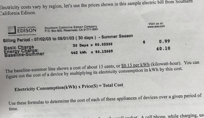 Electricity Costs Vary By Region Lets Use The Prices Shown In This Sample Electric Bili