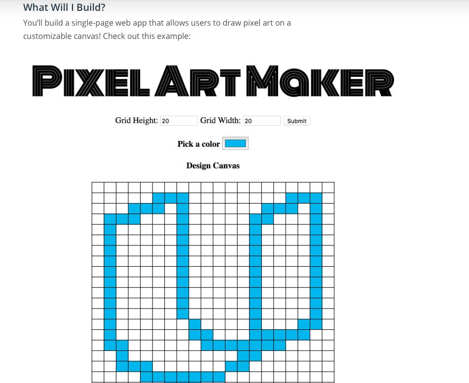 The Pixel Art Maker Repository On GitHub Link