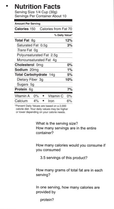 Solved: Nutrition Facts Serving Size 1/4 Cup (30g) Serving