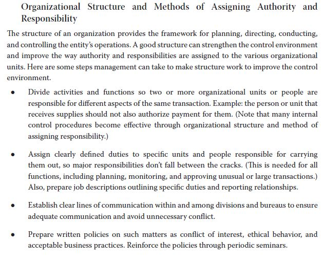 Organizational Structure and Methods of Assigning Authority and Responsibility The structure of an organization provides the