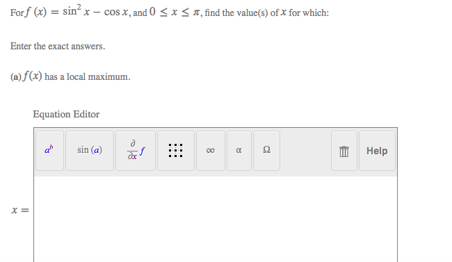 Solved Forf X Sin2 X Cos X And 0 Enter The Exact Ans