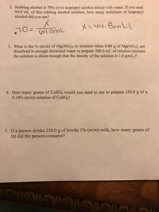 Solved: 2  Rubbing Alcohol Is 70% (v/v) Isopropyl Alcohol