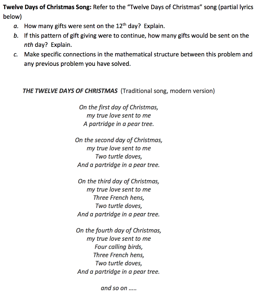 12 Days Of Christmas Lyrics.Solved Twelve Days Of Christmas Song Refer To The Twelv